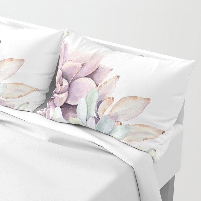 Desert Succulents on White Pillow Sham