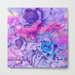 Abstract Flowers - The color of 2018, which is Ultraviolet Metal Print