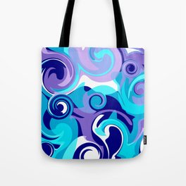 Finger Paint Swirls in Turquoise, Lavender, Purple, Navy Tote Bag