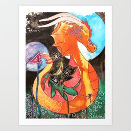 Fantastic animal - My new friend Drago - dragon - by LiliFlore Art Print