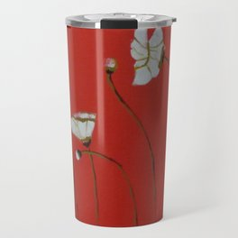 Asian White Poppies Travel Mug