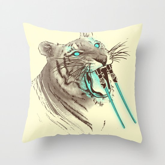 Saber-toothed Tiger Throw Pillow