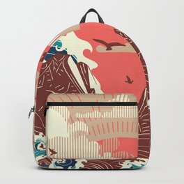 Stylized big waves of ocean or sea at sunset landscape Backpack