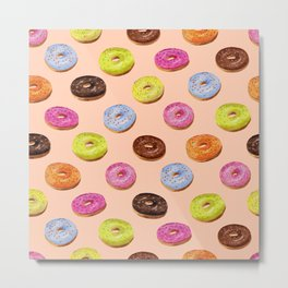 Glazed donuts seamless pattern in watercolor on pink background Metal Print