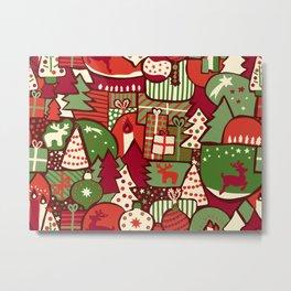 Christmas Collage Pattern Metal Print