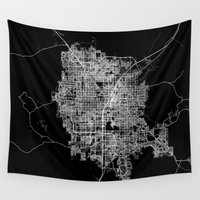 las vegas Wall Tapestries featuring Las Vegas map by Line Line Lines