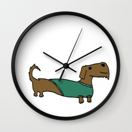 Daschund with sweater Wall Clock