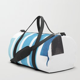Cerulean Blue Minimalist Mid Century Modern Inca Watercolor Stripes Staggered Symmetrical Pattern Duffle Bag