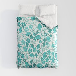 Turquoise Watercolor Floral Pattern Comforters