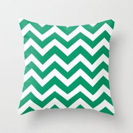 Green-cyan - green color - Zigzag Chevron Pattern Throw Pillow
