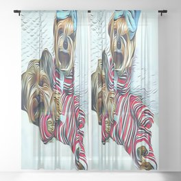 2 Yorkshire Terriers Getting Ready to go to Sleep  Sheer Curtain