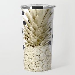 Gold Pineapple on Black and White Polka Dots Travel Mug