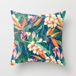 Tropical Bird Of Paradise Flowers Throw Pillow