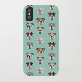 English Bulldog pattern print dog breed pet portrait gifts for dog owner bulldog iPhone Case