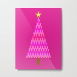 Fuchsia Pink Ombre Retro Modern Christmas Tree Metal Print