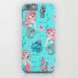 Babydoll Mermaids on Aqua iPhone Case