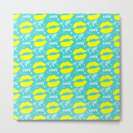 In love with a world sign with yellow lip mark on turquoise background Metal Print