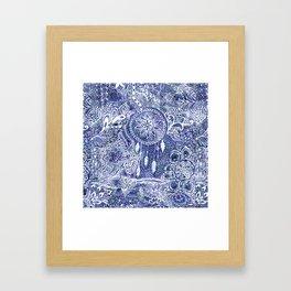 Boho blue dreamcatcher feathers floral illustration Framed Art Print
