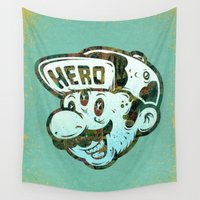 super hero Wall Tapestries featuring Hero by Beery Method