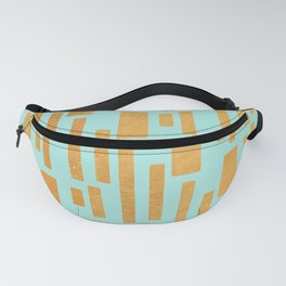Abstract Bamboo Turquoise Gold Mid-Century Fanny Pack