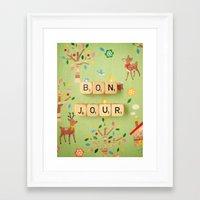 bonjour Framed Art Prints featuring Bonjour by happeemonkee