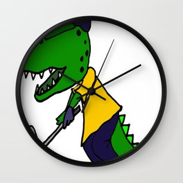 Cool Funny Green Alligator Playing Golf Art Wall Clock