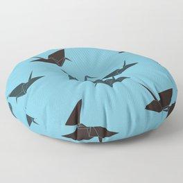 Blue origami cranes Floor Pillow