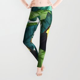 Toucans Tropical Banana Leaves Pattern Leggings