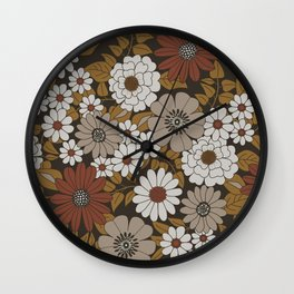 Brown, Orange, and Ivory Retro Flower Pattern Wall Clock