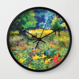 Deer in a Meadow Wall Clock