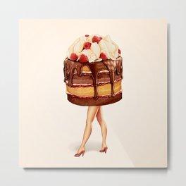 Cake Girl - Chocolate Raspberry Metal Print
