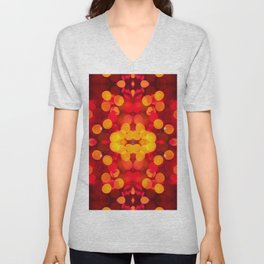 Red yellow sparkles and circles bokeh abstract Unisex V-Neck