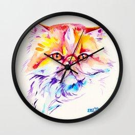 Persian Cat Watercolor Painting Wall Clock