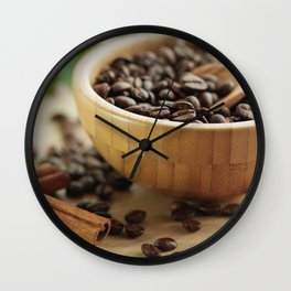 Still life of bamboo shell with fine Arabica coffee and  cinnamon Wall Clock