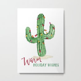 Warm holiday wishes Cactus with Holiday lights Metal Print
