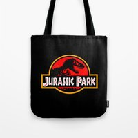 jurassic park Tote Bags featuring Jurassic Park by MrWhite