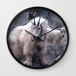 Magnificent Mountain Goat & Baby on Cliff's Edge Wall Clock