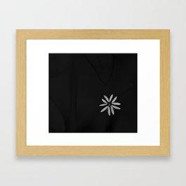 One Tiny White Flower on Black Background #decor #society6 Framed Art Print