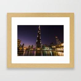 Burj khalifa at night Framed Art Print