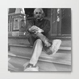 Albert Einstein in Fuzzy Slippers Classic Black and White Satirical Photography - Photographs Metal Print
