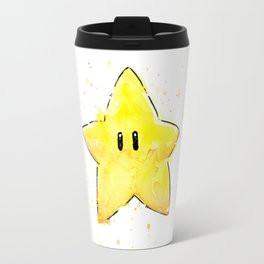 Invincibility Star Mario Watercolor Geek Gamer Art Travel Mug