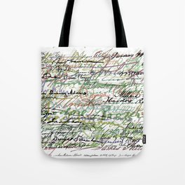 All The Presidents Signatures Green Sepia Tote Bag