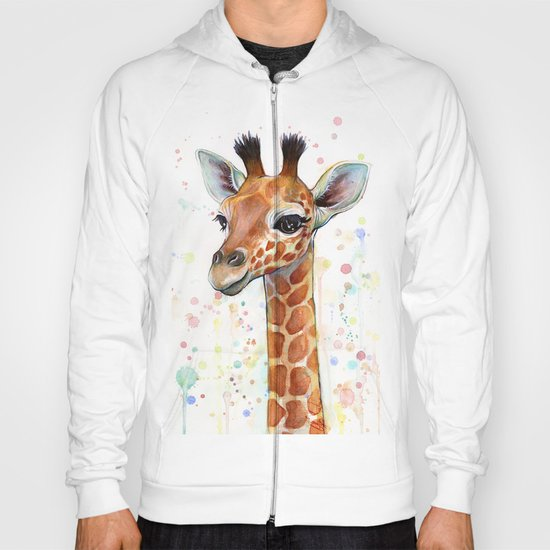 Giraffe Baby Animal Watercolor Hoody