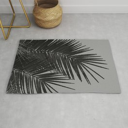 Gray Black Palm Leaves with Black Silver Glitter #1 #tropical #decor #art #society6 Rug