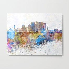 Louisville V2 skyline in watercolor background Metal Print