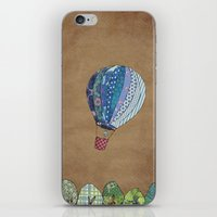 hot air balloon iPhone & iPod Skins featuring Blue hot air balloon by Sof Andrade