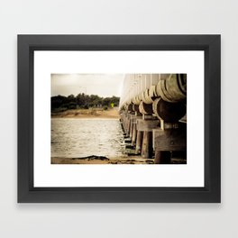 Rustic Ocean Bridge Framed Art Print