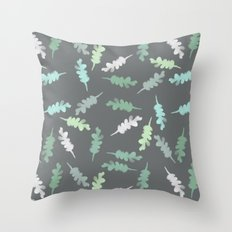 Watercolor Painted Oak Leaves Throw Pillow