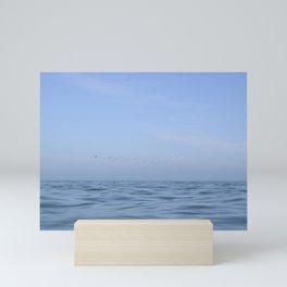 Minimalist seascape - flying gannets off the coast of Wales, UK - travel photography Mini Art Print