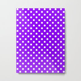 Small Polka Dots - White on Violet Metal Print